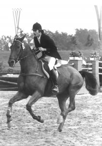 """Bild: Dieter Hofmann bei den DJM in Tübingen 1976 mit seinem Pferd """"Tanjuk"""""""